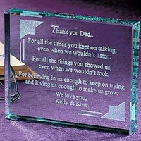 Personalized Thank You Dad Paperweight
