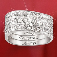 Engraved Diamond Women's Three Band Ring: Hid