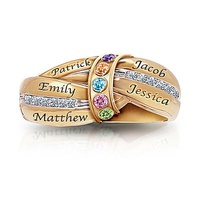 A Mother&#039;s Embrace Personalized Birthstone Ri