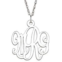 Sterling Silver Script Initial Monogram Necklace