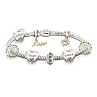 Child Name-Engraved Personalized Birthstone Bracel