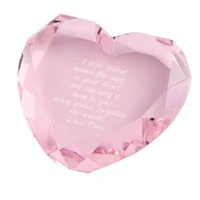 Personalized Pink Heart Paperweight Gift