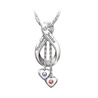 Engraved Diamond And Birthstone Pendant Necklace