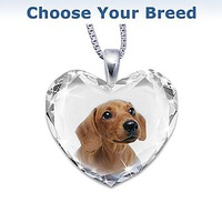 Heart-Shaped Crystal Dog Pendant Necklace: Close T