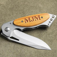Personalized Pocket Knife - Wood Handle