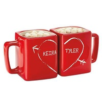 Personalized Half Heart Square Red Mug Set