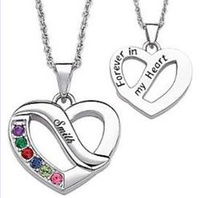 Personalized Family Name &amp; Birthstone Heart Pe