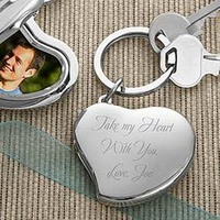 Engraved Heart Photo Locket Key Ring
