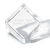 Personalized Crystal Cube Paperweight Gift