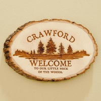 Personalized Pine Wood Log Sign