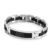 Personalized Black And Silver Id Bracelet And Keep