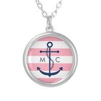 White Blue Pink Monogram Stripes Anchor Custom..