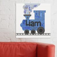 Kids Train Word-Art Canvas
