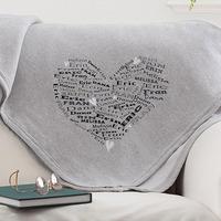 Personalized Sweatshirt Fleece Blanket - Heart..
