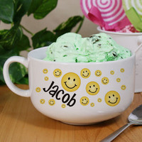 Personalized Ceramic Smiley Face Ice Cream Bowl