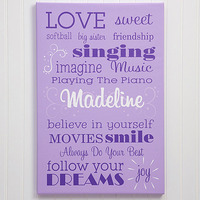 Girls Personalized Canvas Art - Her Life - Large