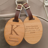 Personalized Wood Luggage Tags - Classic Monogram