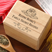 personalized recipe box gift for grandmothers with lots of secret recipes