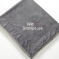 Warm Heart Personalized Grey Sherpa Fleece Blanket for Him Valentine's Day gift idea