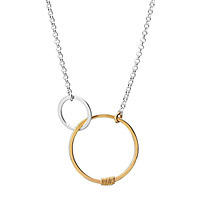 joined circled links of love necklace silver and gold