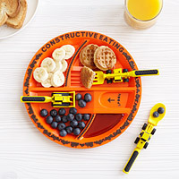 construction plate and utensils sugar free valentines day gift for kids