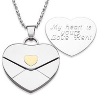 Stainless Steel Engraved Heart Envelope Pendant