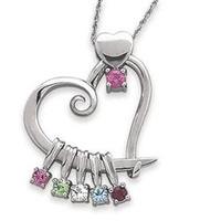 Sterling Silver Birthstone Heart Dangle Pendant Mo