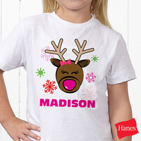 Personalized Kids Christmas T-Shirts - Reindeer