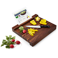 tablet holding cutting board for eating healthier new year's resolution