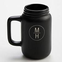 Black Ceramic Mason Jar Mug