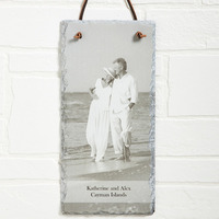Personalized Photo Slate Wall Plaque - Vertical