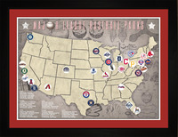 MLB Baseball Parks Tracking Location Map | Gift..