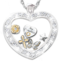 Wishes For My Daughter Glass Heart Locket With 5..