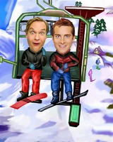 Ski Lift MM Caricature From Photos.