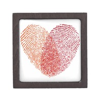 Red Fingerprint Heart Design Premium Trinket Box