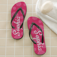 Personalized Flip Flop Sandals - Flower Power