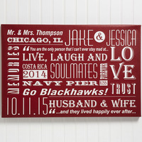 Personalized Couple Canvas Print Wall Art - Our..