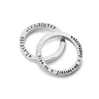 Set Of 2 Latitude Longitude Custom Rings