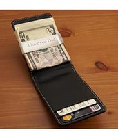 Personalized Leather Wallet With Stainless Steel M
