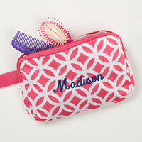 Geo Pink Embroidered Cosmetic Bag