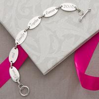 Engraved Sterling Silver Link Bracelet With..