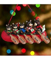 Personalized Bear Family In Canoe Ornament