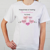 Personalized Ladies Black T-Shirt - Happiness Is..