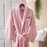 Womens Personalized Spa Robe - Pink Microfleece