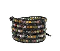 Beautiful Gemstones Leather Wrap Bracelet